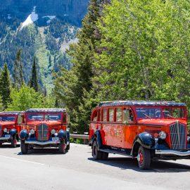 I rossi 'jammer' d'epoca che fanno servizio lungo la Going To The Sun road